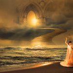 幻想的な風景と女性