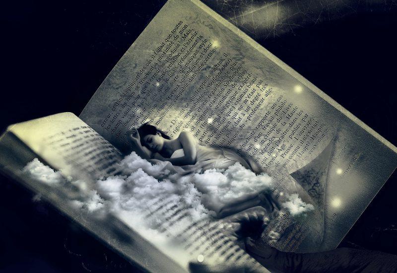 眠る女性と本の夢