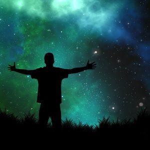 宇宙と人間の画像