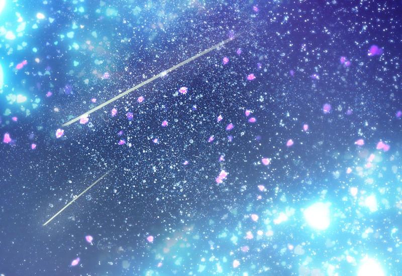 流れ星と花吹雪